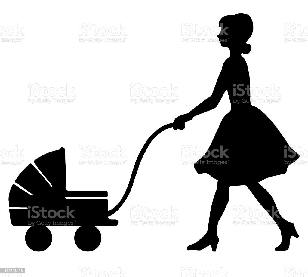 Woman Pushing a Baby Stroller royalty-free woman pushing a baby stroller stock vector art & more images of adult