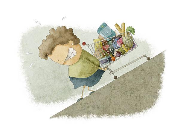 woman pushing a shopping cart up vector art illustration