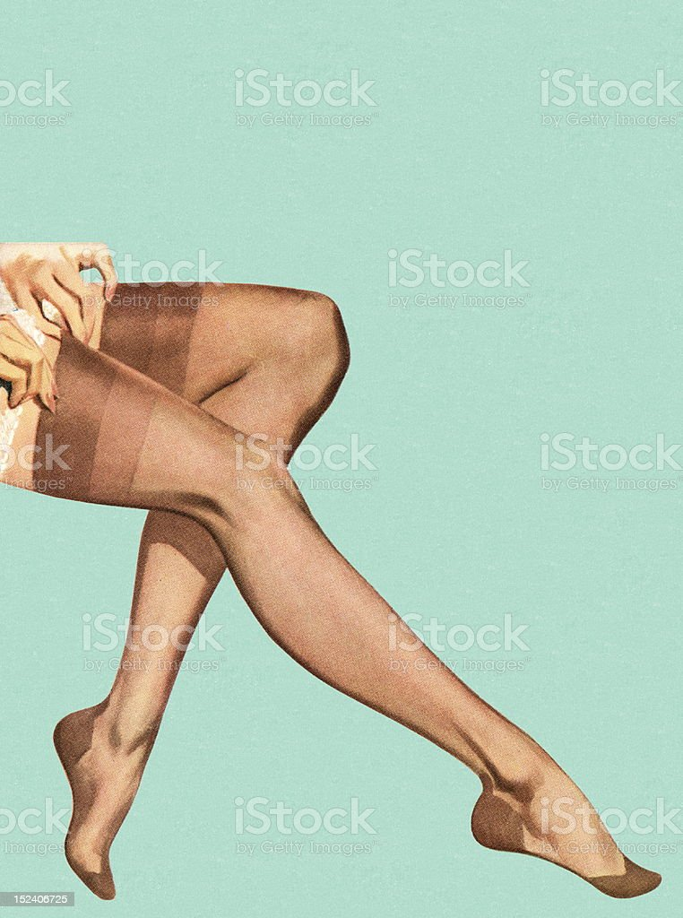 Woman Putting Stockings on royalty-free stock vector art