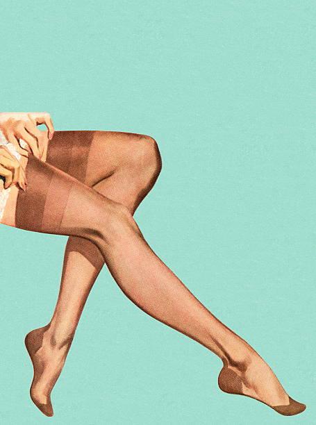 Woman Putting Stockings on vector art illustration