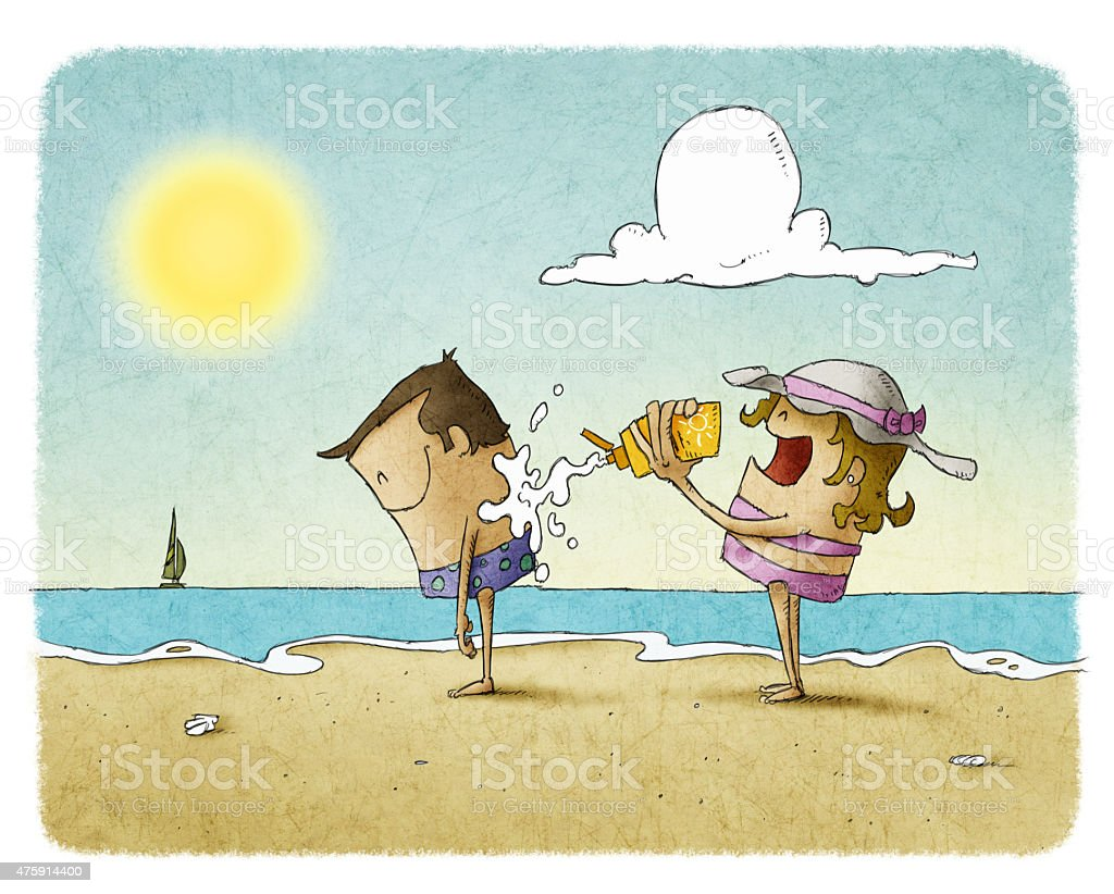 woman putting sunscreen on a man's back at the beach vector art illustration