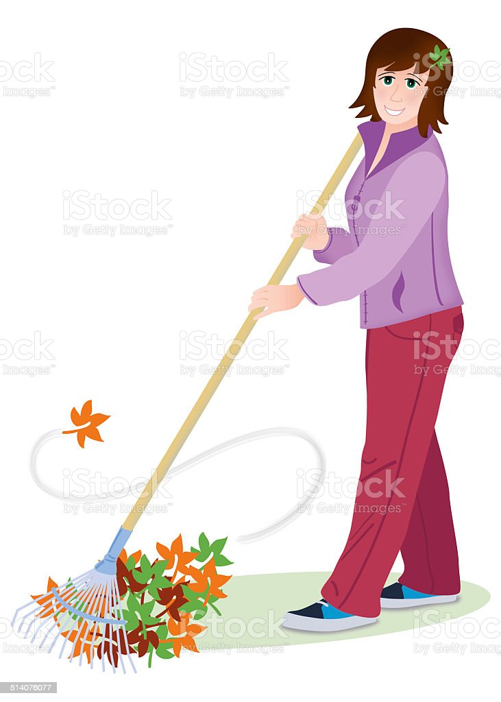 Woman rakes leaves vector art illustration