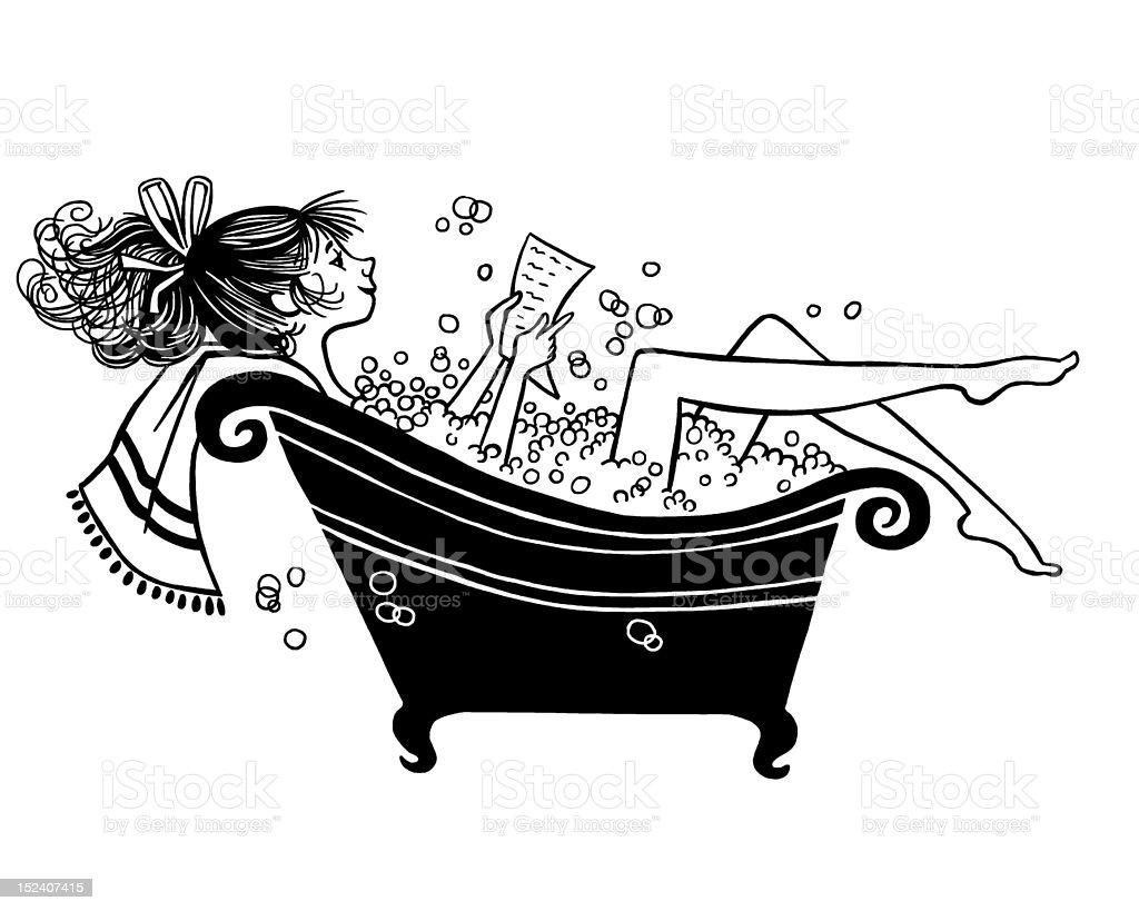 Woman Reading In Bubble Bath vector art illustration