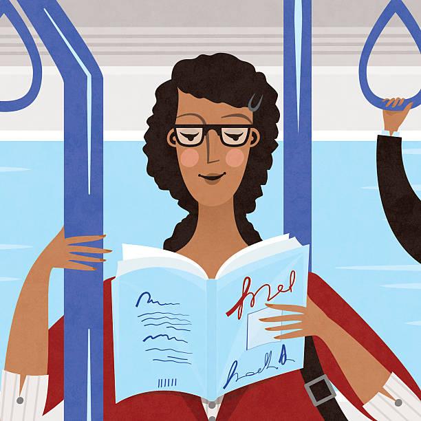 woman reading on public transport vector art illustration