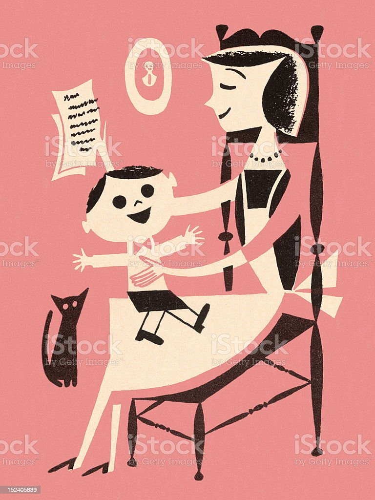 Woman Reading With Boy on Her Lap royalty-free stock vector art