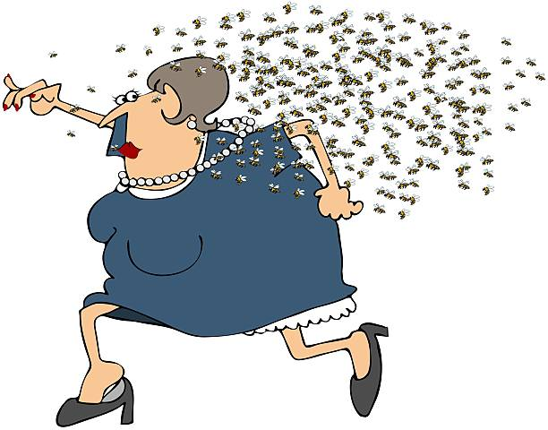 Woman Running From A Swarm Of Bees This illustration depicts a chubby woman being chased by a swarm of angry bees. swarm of insects stock illustrations