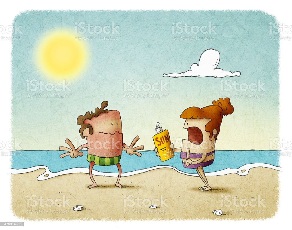 woman scolding man who has not used sunscreen vector art illustration