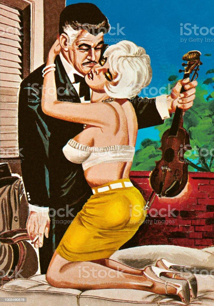 Woman Seducing a Violin Player vector art illustration