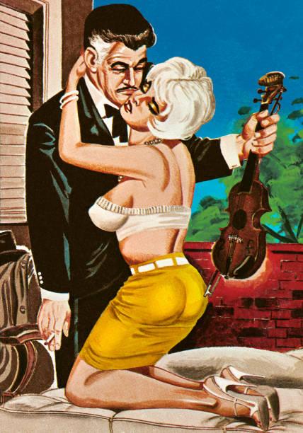 Femme séduisant un joueur de violon - Illustration vectorielle