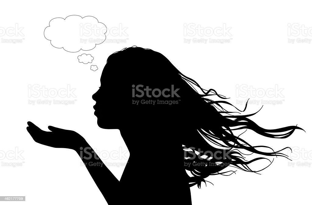 woman sending a flowing kiss vector art illustration