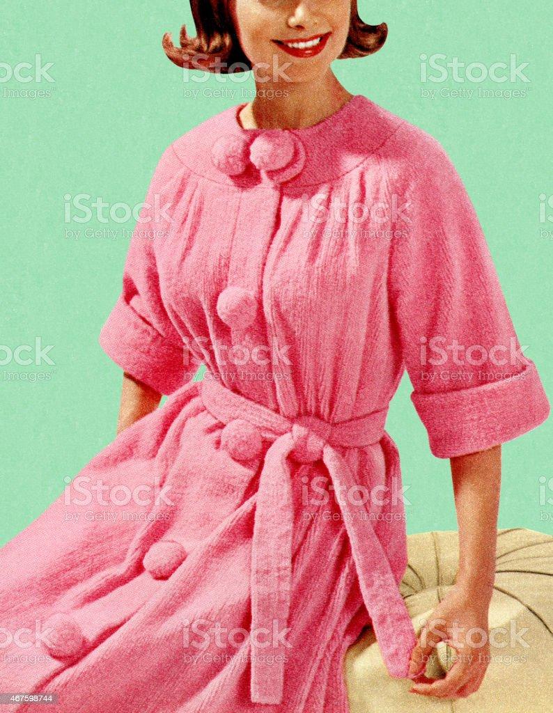Woman Sitting in Pink Robe vector art illustration