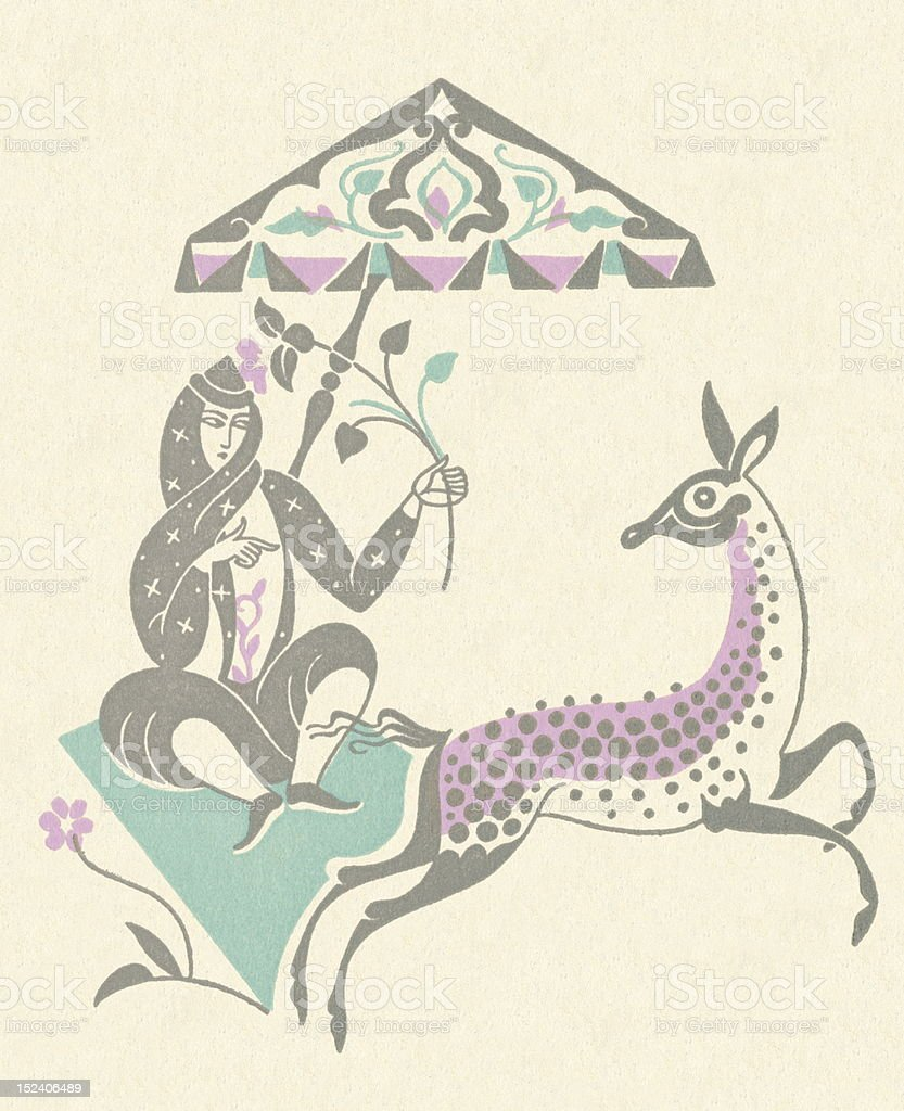 Woman Sitting on Carpet With Animal royalty-free stock vector art