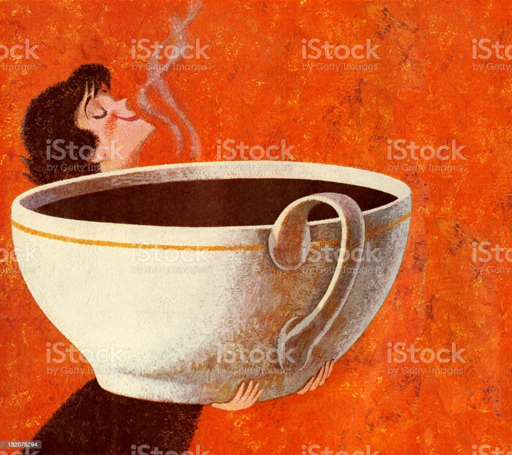 Woman Smelling Giant Cup of Coffee vector art illustration