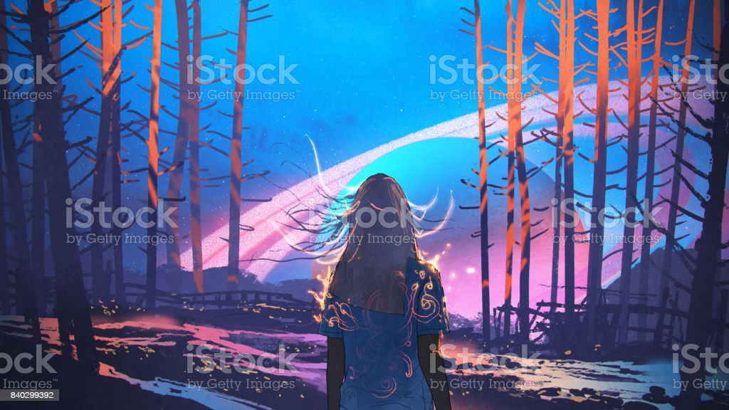 woman standing alone in forest with fictional background vector art illustration