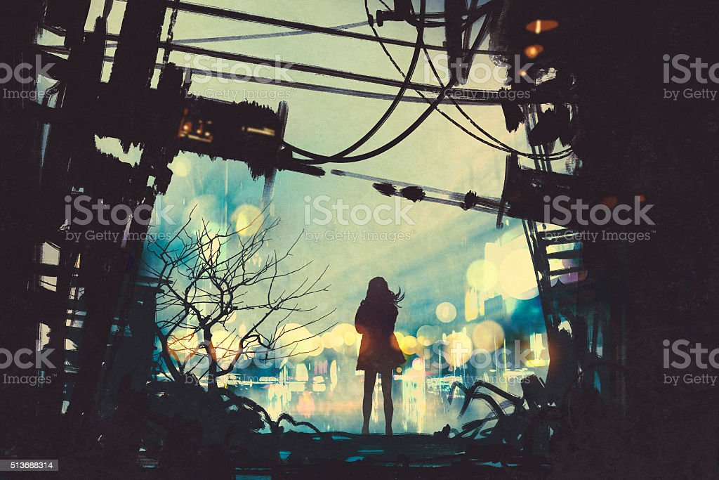 woman standing among old ruins looking outside vector art illustration