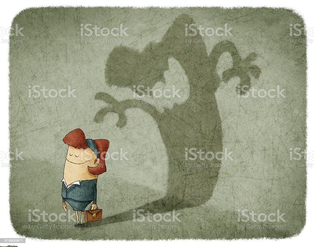 woman standing and casting shadow of an angry woman vector art illustration