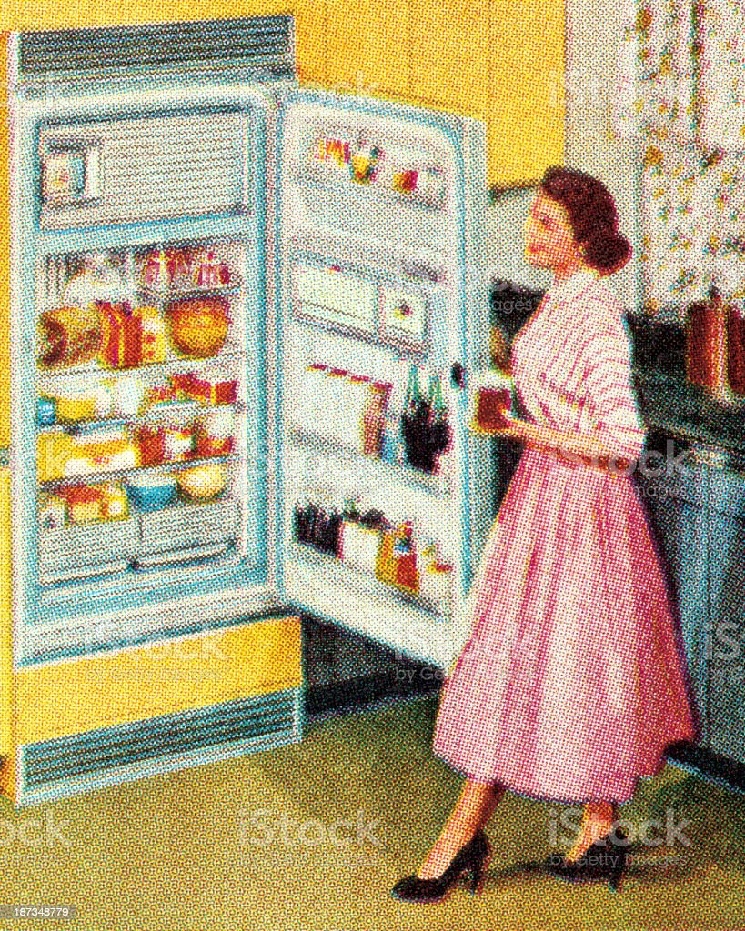 Woman Standing at Open Refrigerator vector art illustration