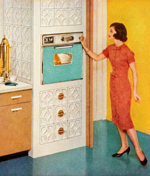 woman standing by turquoise oven - woman cooking stock illustrations