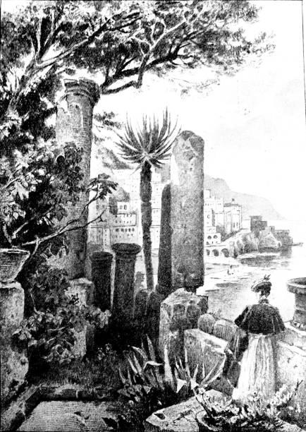 illustrazioni stock, clip art, cartoni animati e icone di tendenza di woman standing in a garden above the amalfi coast - amalfi