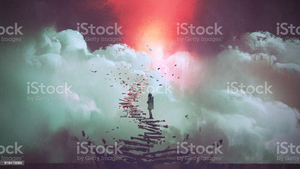 woman standing on broken stairs vector art illustration
