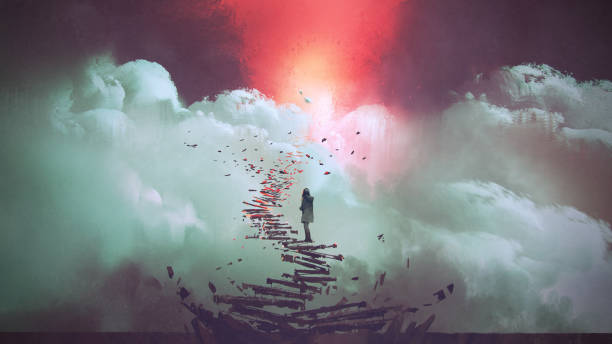 woman standing on broken stairs young woman standing on broken stairs leading up to sky, digital art style, illustration painting dreamlike stock illustrations