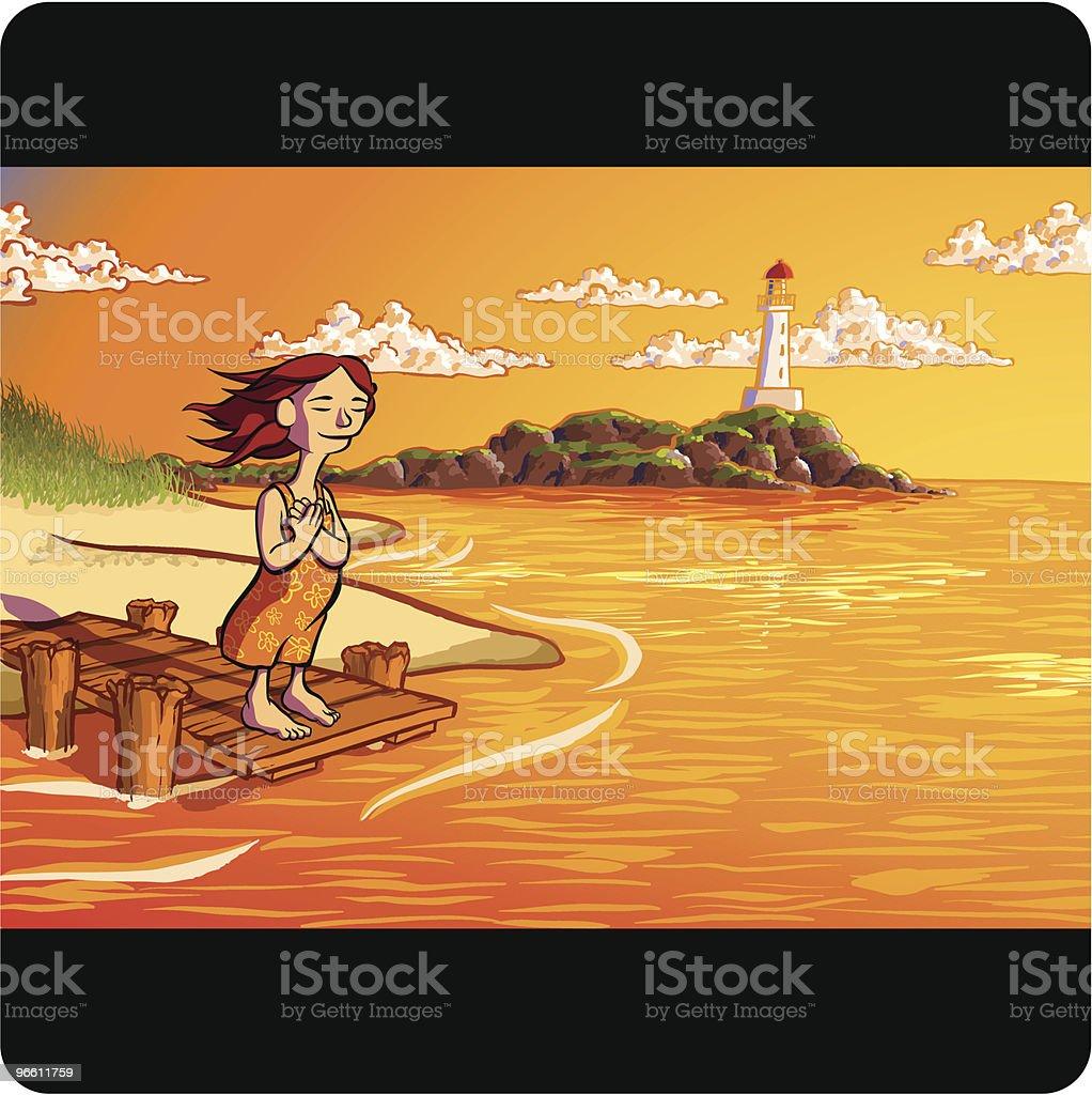Женщина, стоя на Dock вдоль береговой линии с видом на океан - Векторная графика Босиком роялти-фри