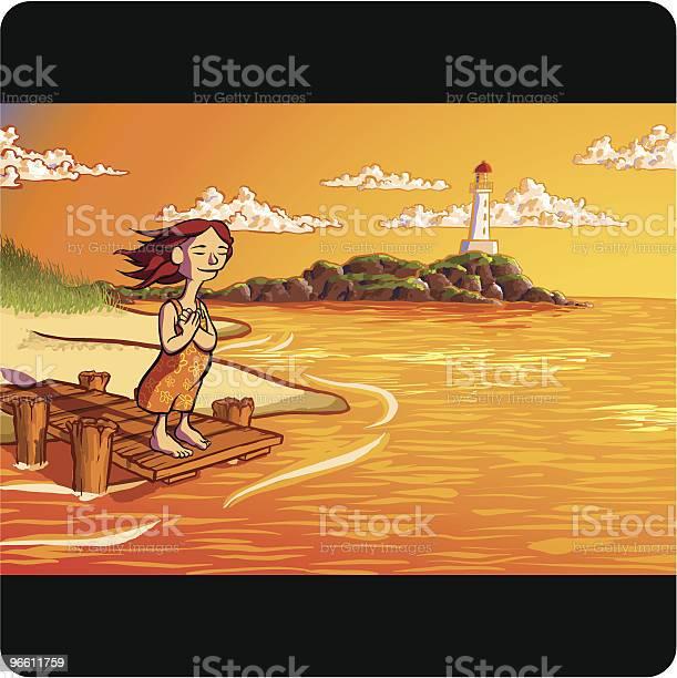 Женщина Стоя На Dock Вдоль Береговой Линии С Видом На Океан — стоковая векторная графика и другие изображения на тему Мол