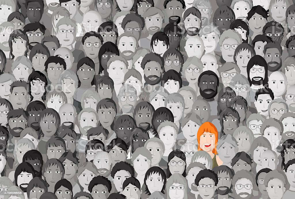 Woman standing out in a crowd, cartoon design vector art illustration