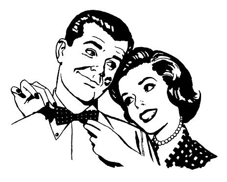 Woman Straigtening Man's Bow Tie