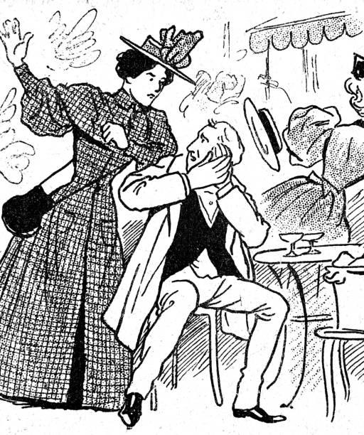 illustrazioni stock, clip art, cartoni animati e icone di tendenza di woman surprises husband in restaurant with other wife giving him a smack - amalfi