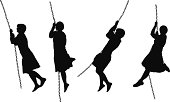 Woman swinging on a chain