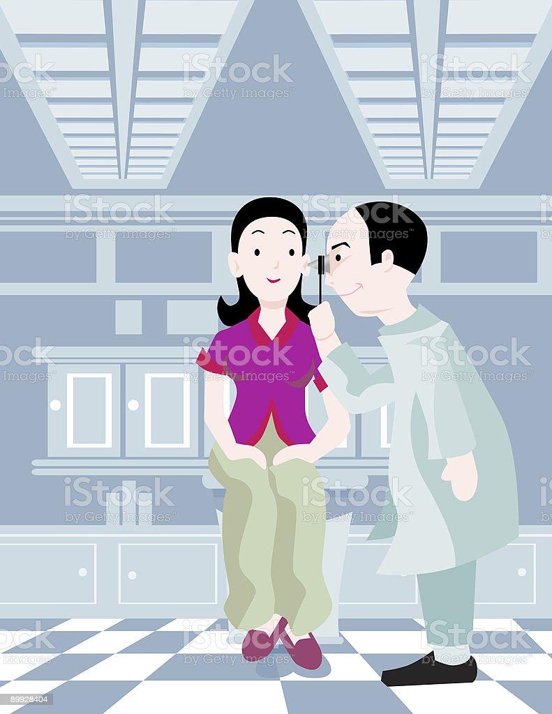 Woman taking ear exam royalty-free stock vector art