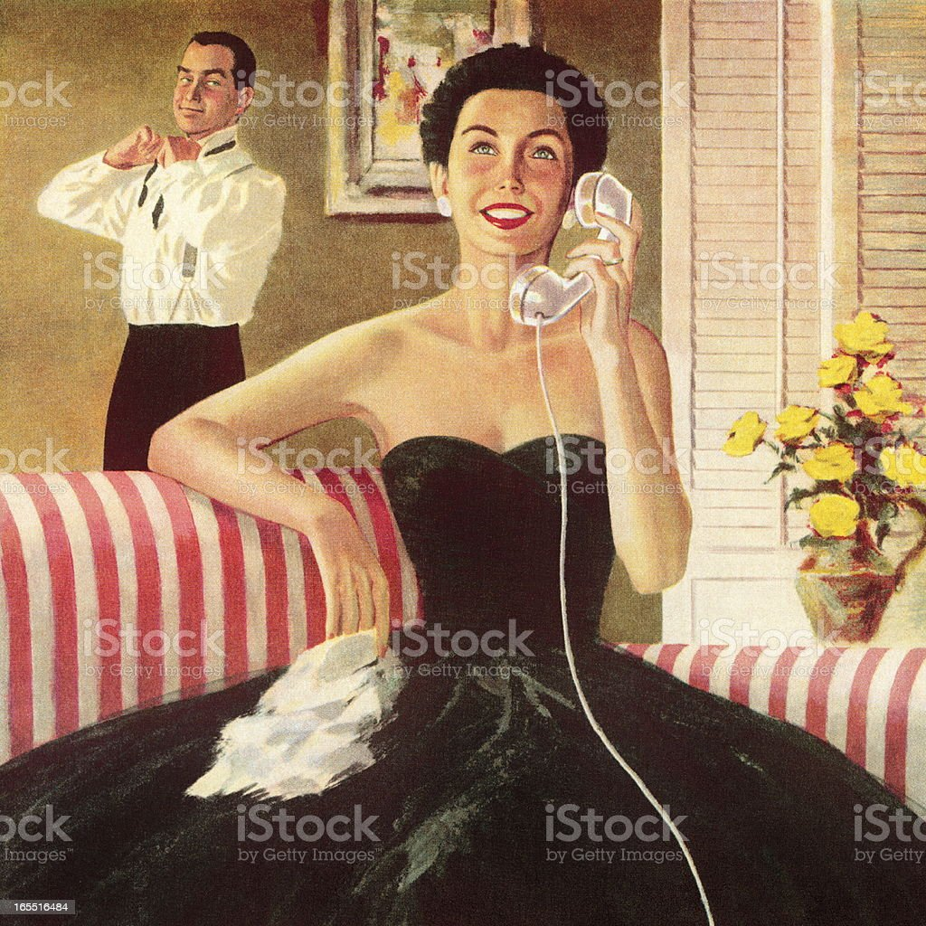 Woman Talking on the Telephone royalty-free stock vector art