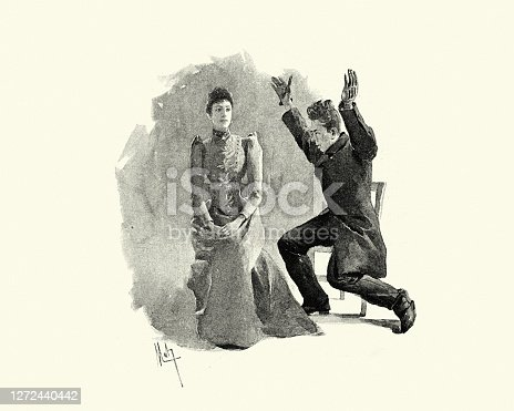 Vintage illustration scene from Colinet by Jules Claretie, 1890, 19th Century.  Woman trying to ignore a man showing off, Victorian 19th Century