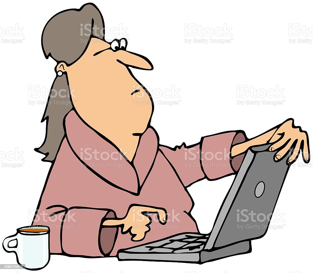 Woman viewing content on computer vector art illustration