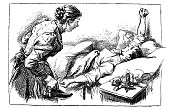 Woman wakes up the late man - 1896