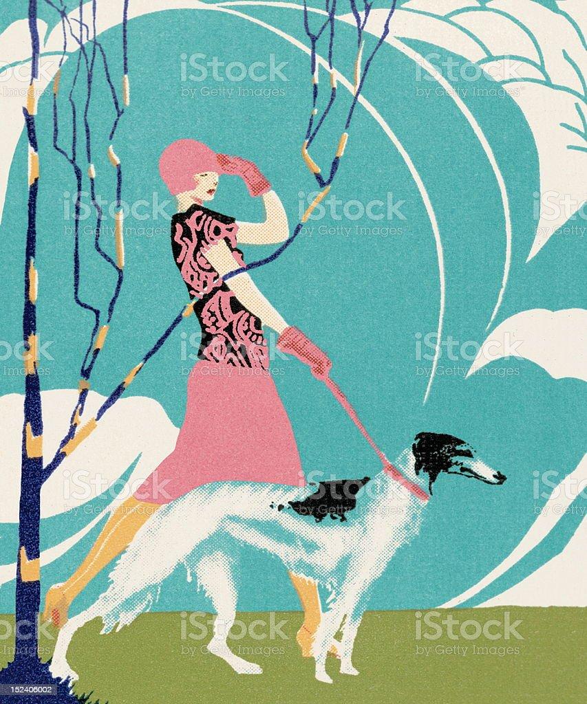 Woman Walking Borzoi Dog royalty-free stock vector art