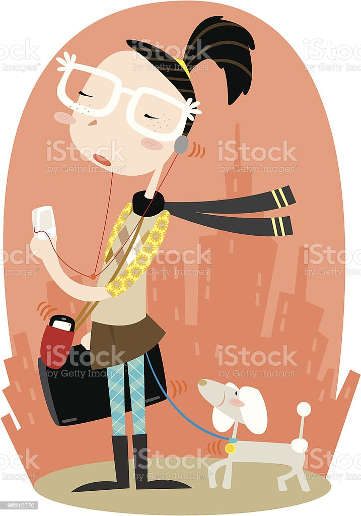 Woman Walking Dog Carrying Laptop, MP3 Player and Cell Phone - Royalty-free Adult stock vector