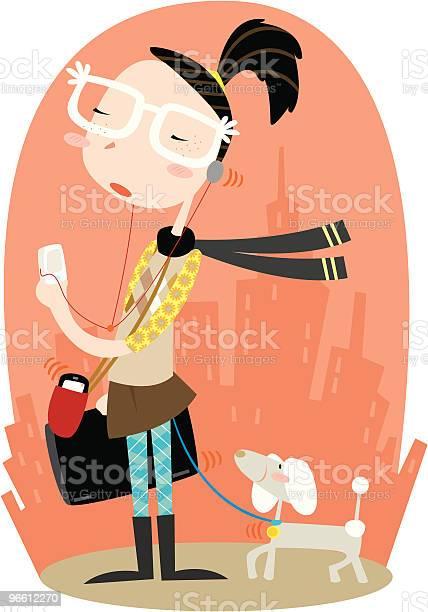 Woman Walking Dog Carrying Laptop Mp3 Player And Cell Phone-vektorgrafik och fler bilder på Arkitektur