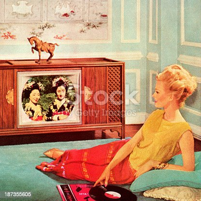 Woman Watching TV In Blue Room