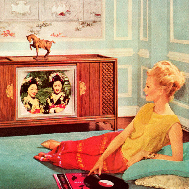 Woman Watching TV In Blue Room Woman Watching TV In Blue Room watching tv stock illustrations