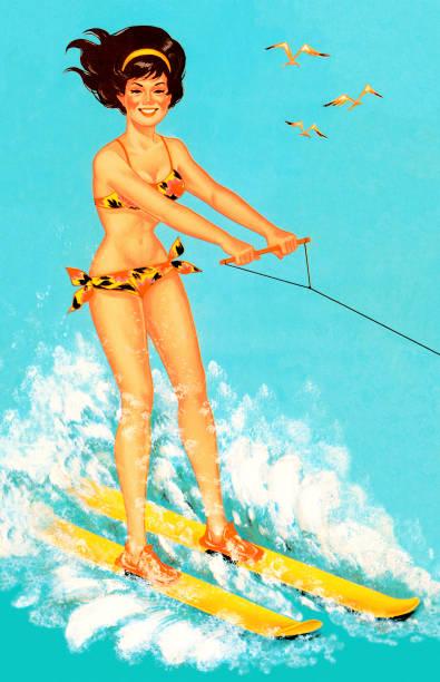 Woman Waterskiing Woman Waterskiing lakeshore stock illustrations