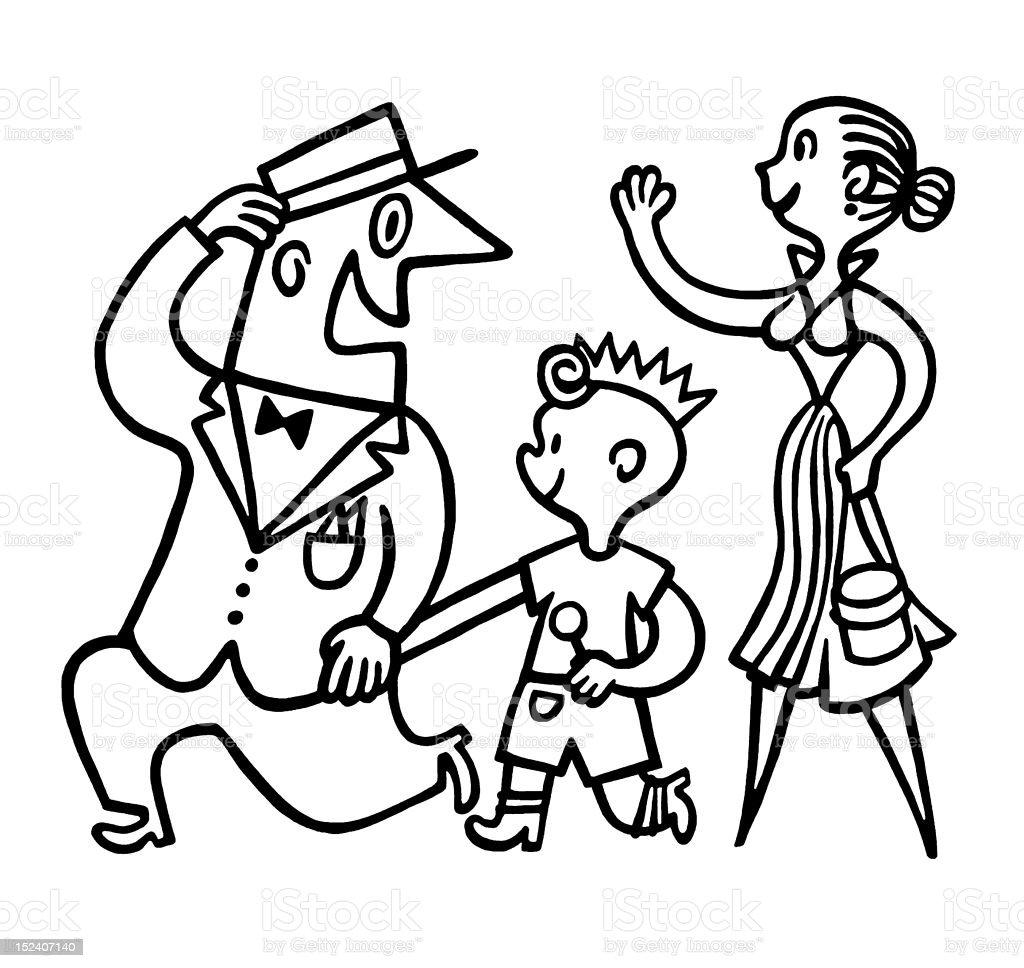 Woman Waving at Man and Boy royalty-free stock vector art