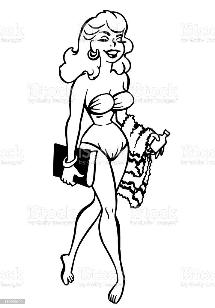 Woman Wearing a Bikini Walking vector art illustration