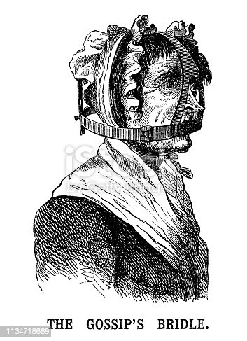 """A frustrated woman who has been clamped into a scold's bridle, also known as a gossip's bridle, witch's bridle, or branks. They were a cruel method of keeping women from talking as they covered the mouth and jaw, preventing movement and speech by pressing down on the tongue inside the mouth. The first recorded use in the UK was in 1567 in Scotland. From """"The Cottager and Artisan 1890"""". Published by The Religious Tract Society, London."""