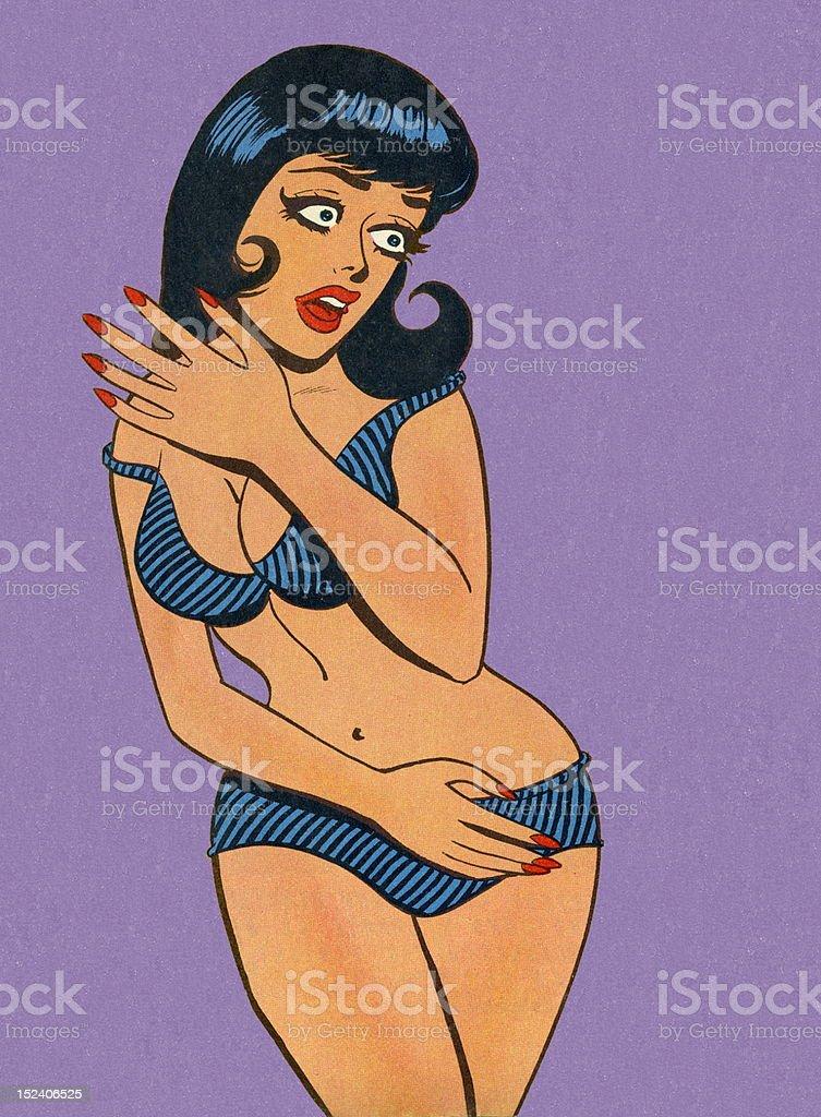 Woman Wearing Bikini vector art illustration