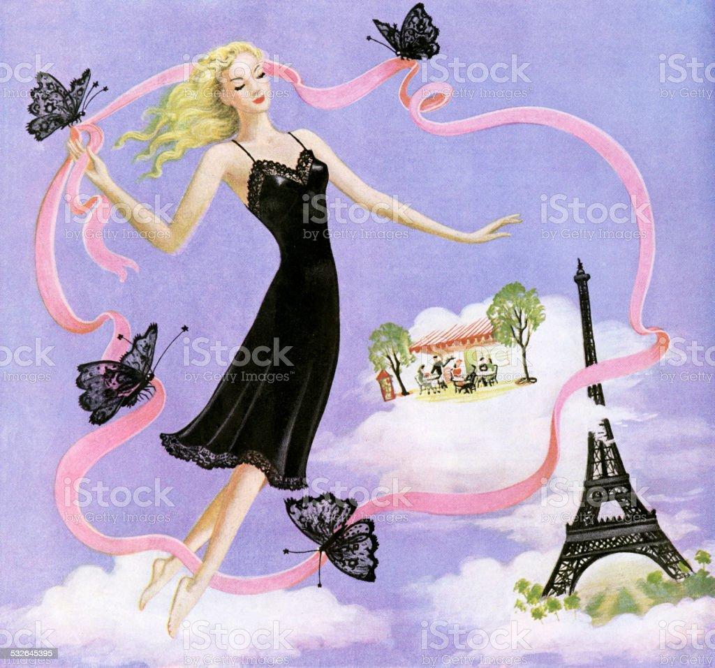 Woman Wearing Black Full Slip vector art illustration