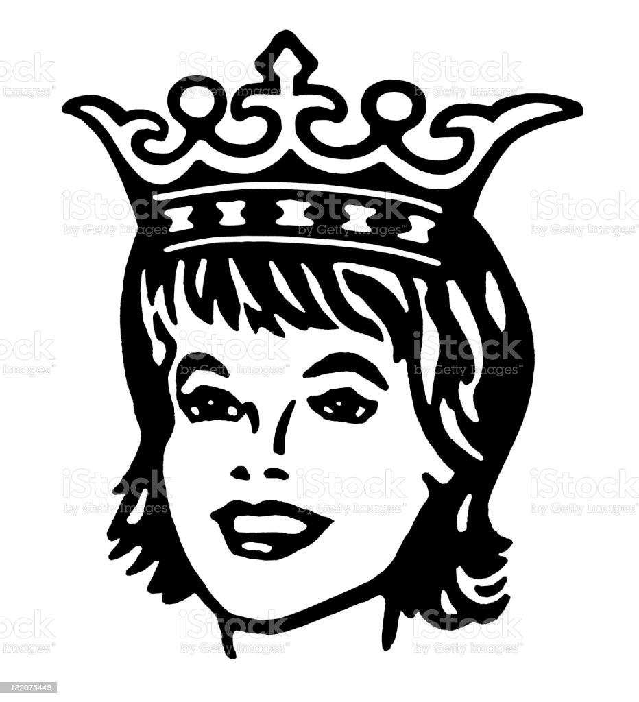 Woman Wearing Crown vector art illustration