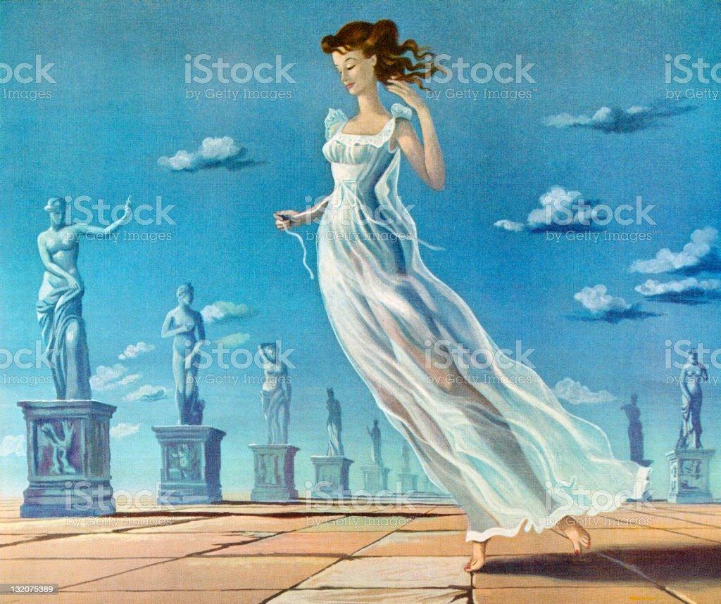 Woman Wearing Goddess Nightgown vector art illustration