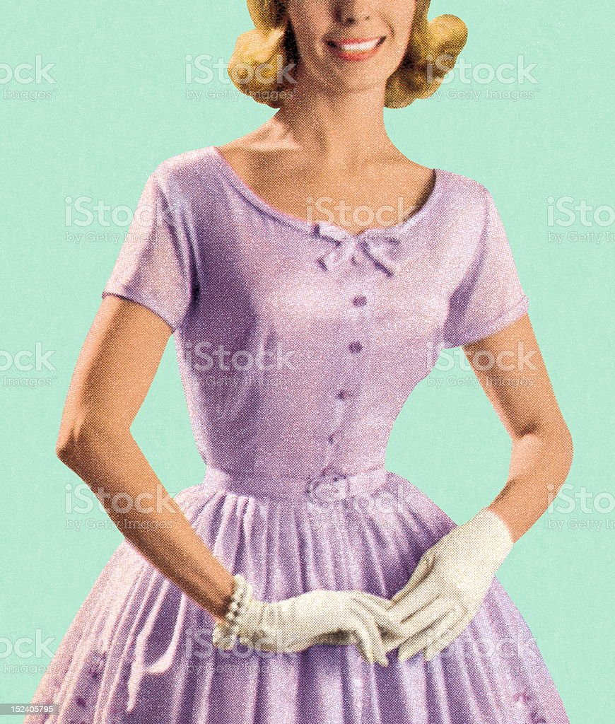 Woman Wearing Lavender Dress royalty-free stock vector art